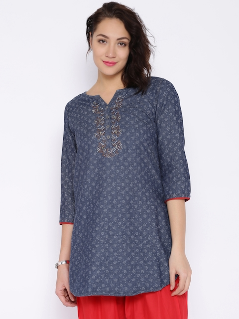 BIBA OUTLET Denim Edition Navy Printed Kurta