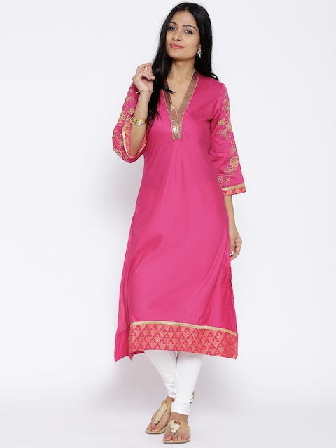 BIBA OUTLET Pink Embroidered Kurta