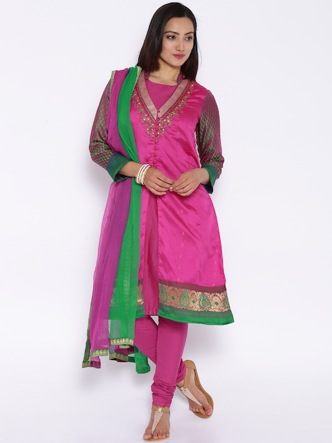 BIBA OUTLET Pink Silk Layered Churidar Kurta with Dupatta
