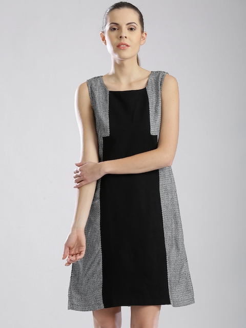 W Black Panelled A-Line Dress with Woven Pattern