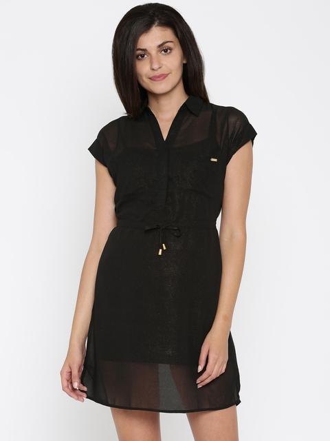 Being Human Clothing Black Shimmery Sheer Shirt Dress