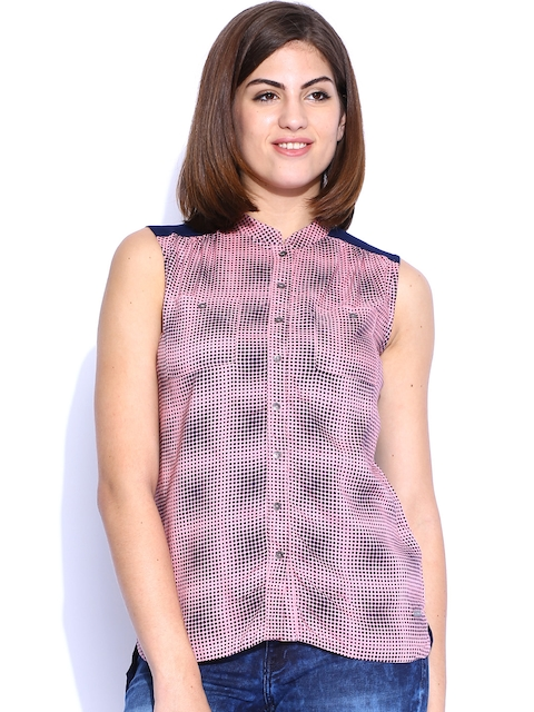 Being Human Clothing Pink & Navy Printed Top