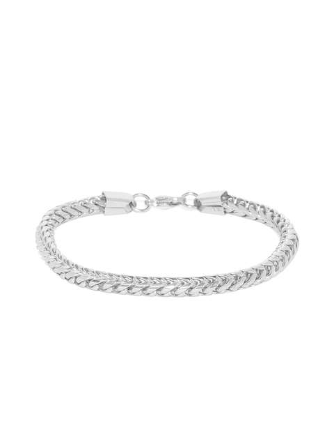 Peora Men Silver-Toned Stainless Steel Link Bracelet