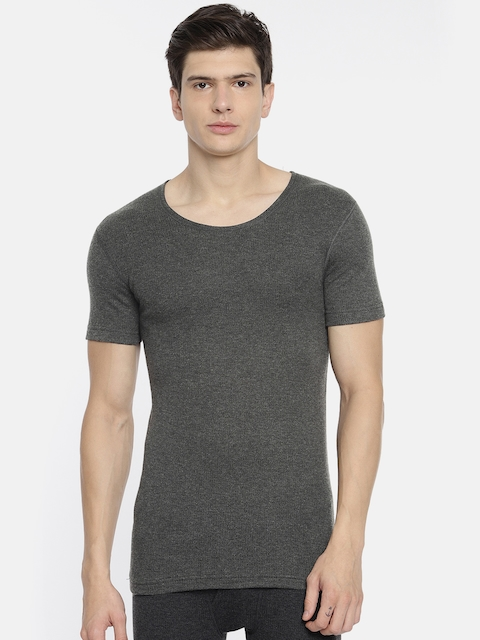 U.S. Polo Assn. Men Charcoal Grey Solid Round Neck Knitted Thermal T-shirt I651-031-PL-L