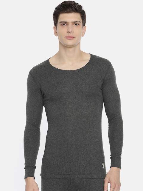 U.S. Polo Assn. Men Charcoal Grey Solid Round Neck Knitted Thermal T-shirt I652-031-PL-L