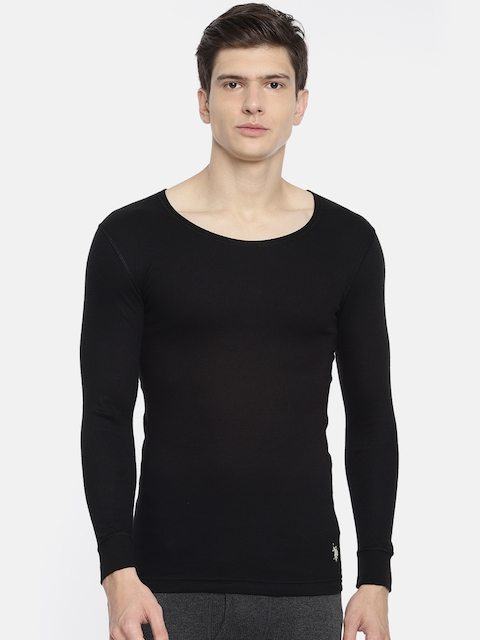 U.S. Polo Assn. Men Black Solid Round Neck Knitted Thermal T-shirt I652-002-PL-L