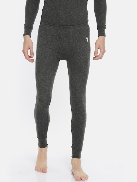 U.S. Polo Assn. Men Charcoal Grey Solid Knitted Thermal Bottoms I653-031-PL-L