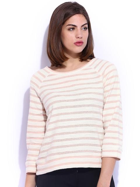 Elle Cream-Coloured & Dusty Pink Striped Sweatshirt