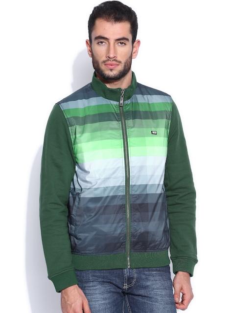 Arrow Sport Green Printed Padded Jacket
