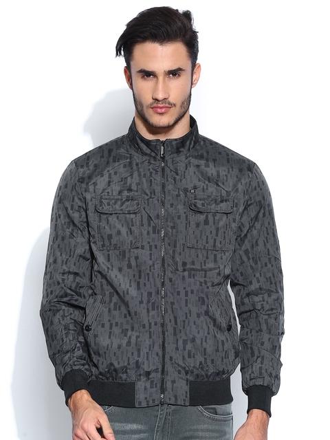 Arrow New York Charcoal Grey Printed Jacket