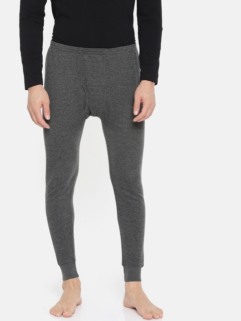 Monte Carlo Men Charcoal Grey Solid Thermal Bottoms 6180M4CH-0-36