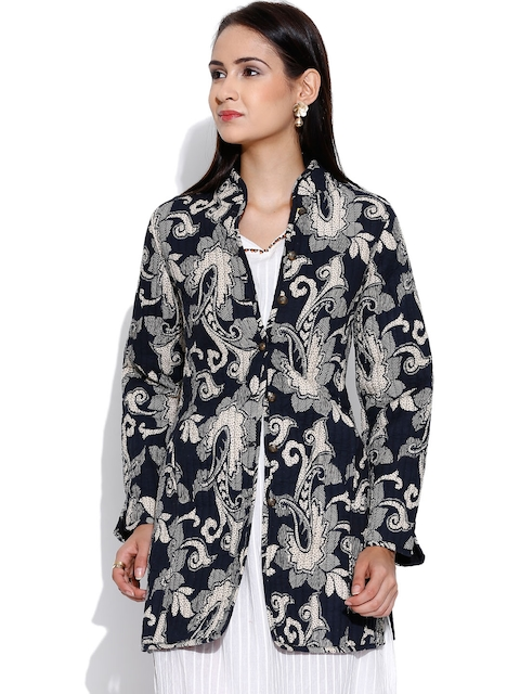 Rain & Rainbow Black & Off-White Printed Jacket