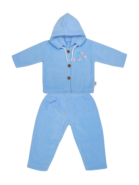 MYKID Unisex Blue Solid Clothing Set