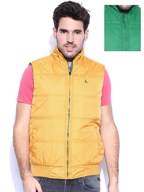 Parx Green & Mustard Yellow Reversible Sleeveless Jacket