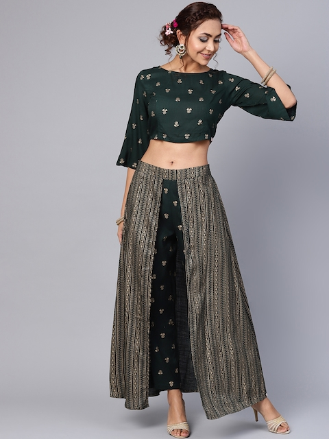 Juniper Women Green & Golden Printed Crop Top and Skirt with Attached Trousers