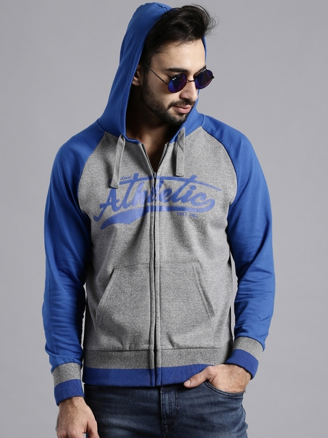 Moda Rapido Grey Melange & Blue Printed Hooded Sweatshirt