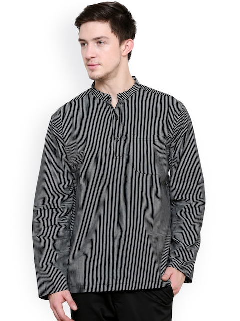 even Men Black Striped Short Kurta  available at myntra for Rs.405