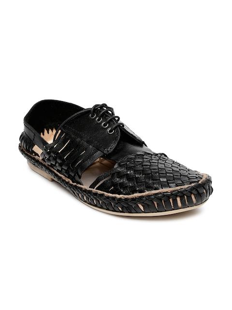 Estd. 1977 Men Black Leather Casual Shoes