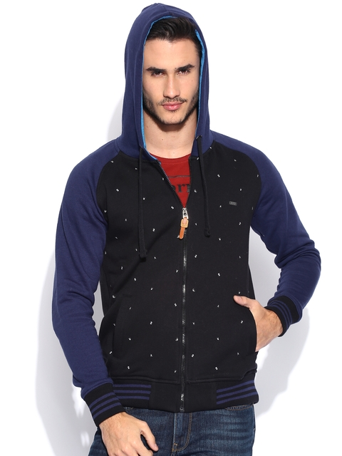 Locomotive Blue & Black Printed Hooded Sweatshirt