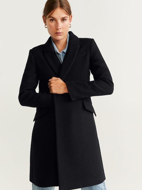 MANGO Women Black Solid Double-Breasted Longline Overcoat