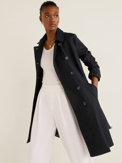 MANGO Women Black Solid Double-Breasted Longline Trench Coat