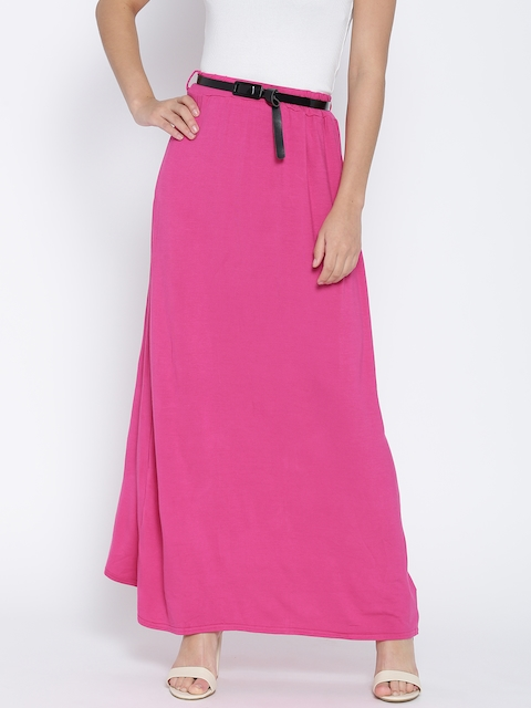 Boohoo Pink Maxi Skirt with Belt