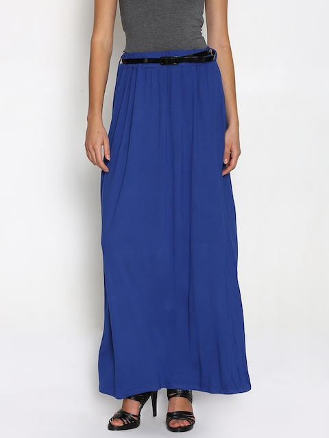 Boohoo Blue Flared Maxi Skirt