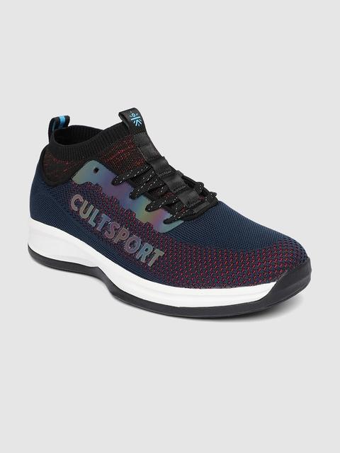 Cultsport Men Navy Blue Woven Design ColorReflector Street Shoes