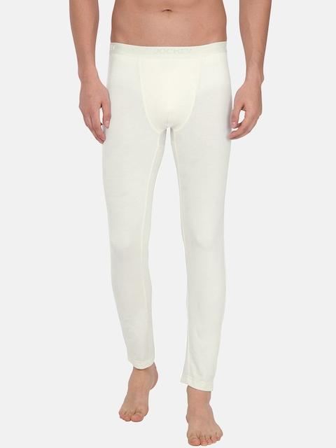 Jockey THERMALS Men Cream-Coloured Solid Thermal Bottoms 2622-0105