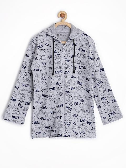 Dreamszone Boys Grey Printed Hooded Sweatshirt