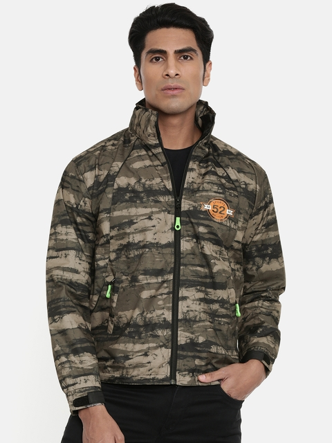 Sports52 wear Men Khaki & Olive Green Printed Hooded Rain Jacket 8905097564898