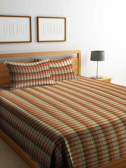 NEUDIS Brown & Yellow Striped Double Bed Cover with 2 Pillow Covers