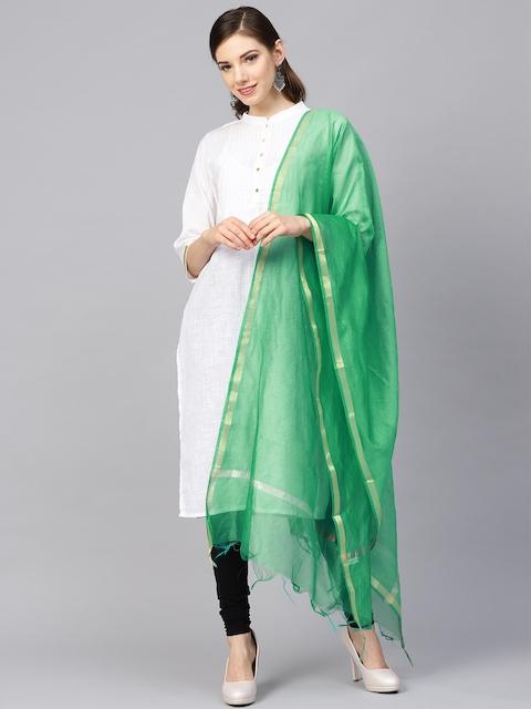 Meeranshi Green Solid Dupatta