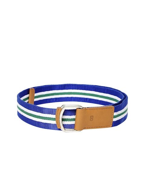 Tommy Hilfiger Blue & White Striped Canvas Belt