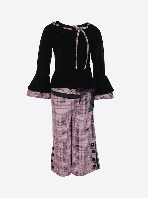CUTECUMBER Girls Black & Pink Solid Top with Trousers
