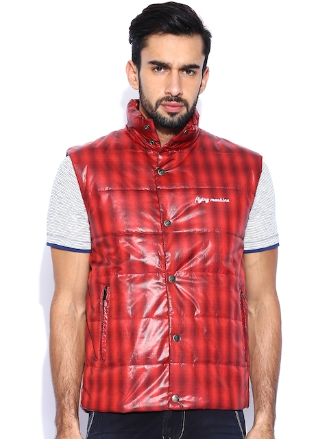 Flying Machine Red Checked Jacket