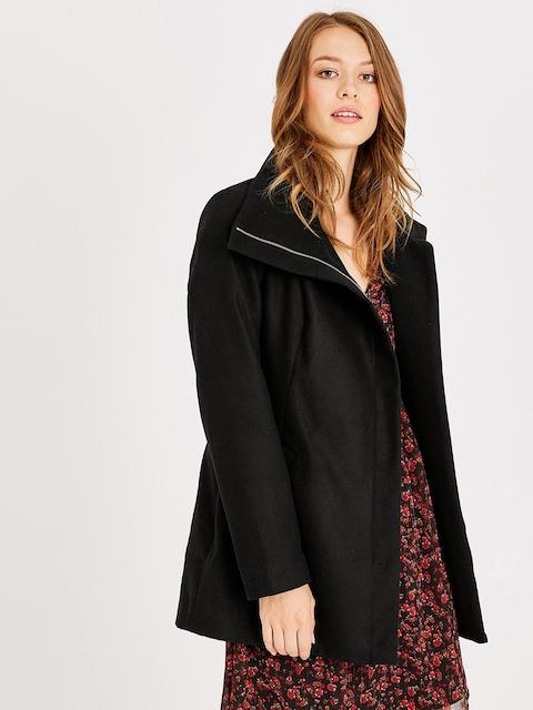 promod Women Black Solid Slim Fit Overcoat