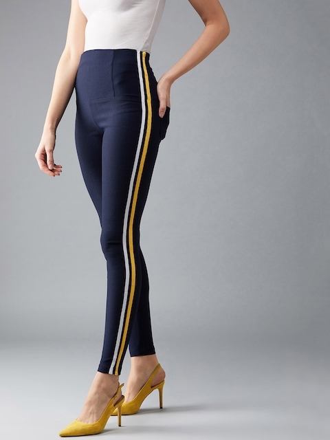 DOLCE CRUDO Women Navy blue Solid Slim-Fit Treggings