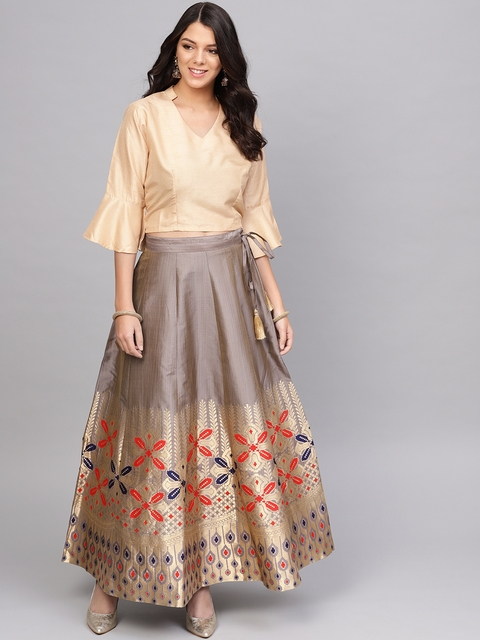 Varanga Women Grey & Beige Woven Design Top with Skirt