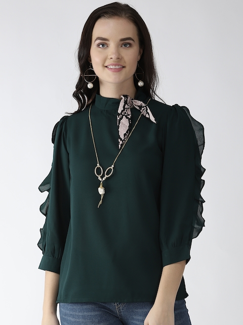 plusS Women Green Frill Detail Solid Top with Mini Scarf