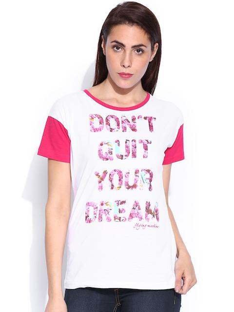Flying Machine White Printed T-shirt