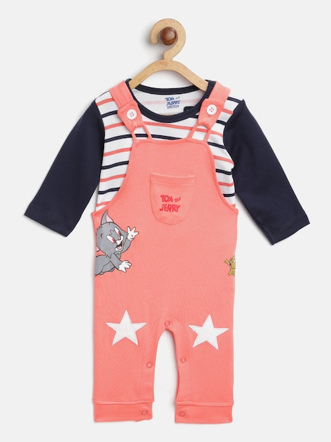 Moms Love Boys Peach-Coloured & White Striped T-shirt with Dungarees