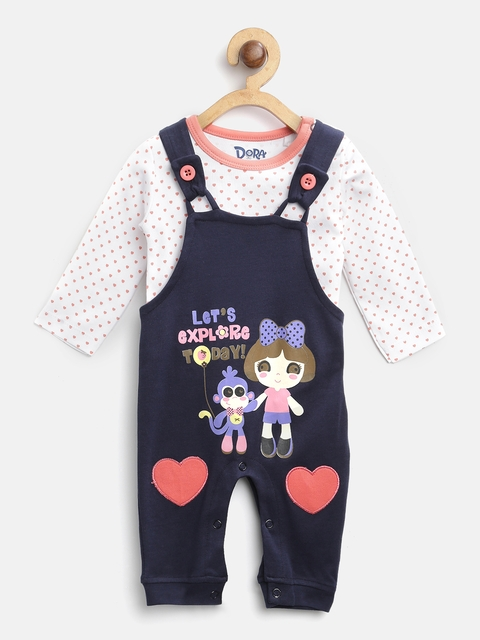 Moms Love Girls White & Navy Blue Printed T-shirt with Dungarees