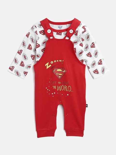 Moms Love Boys White & Red Printed T-shirt with Dungarees