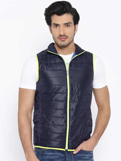 Jack & Jones Navy Polyester Puffer Jacket