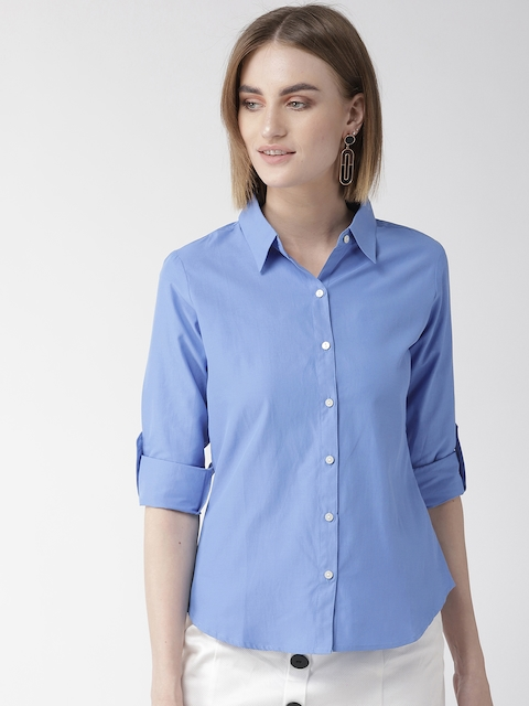 Style Quotient Women Blue Classic Regular Fit Solid Casual Shirt
