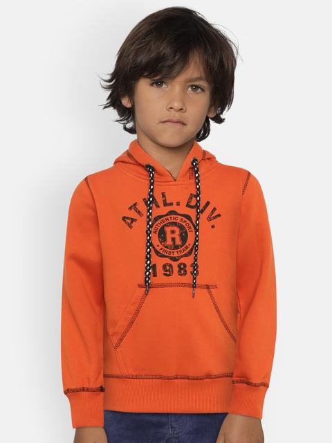 The Sandbox Clothing Co. Unisex Orange Printed Hooded Sweatshirt