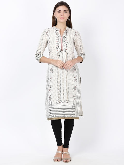 Soch Women Cream & Black Printed Straight Kurta