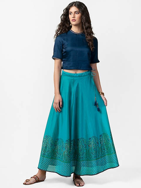 Fabindia Women Blue Solid Top with Skirt