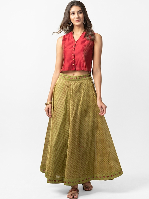 Fabindia Women Maroon & Olive Green Solid Top with Skirt